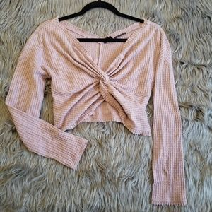 Urban Outfitters blush tie knot plunging blouse